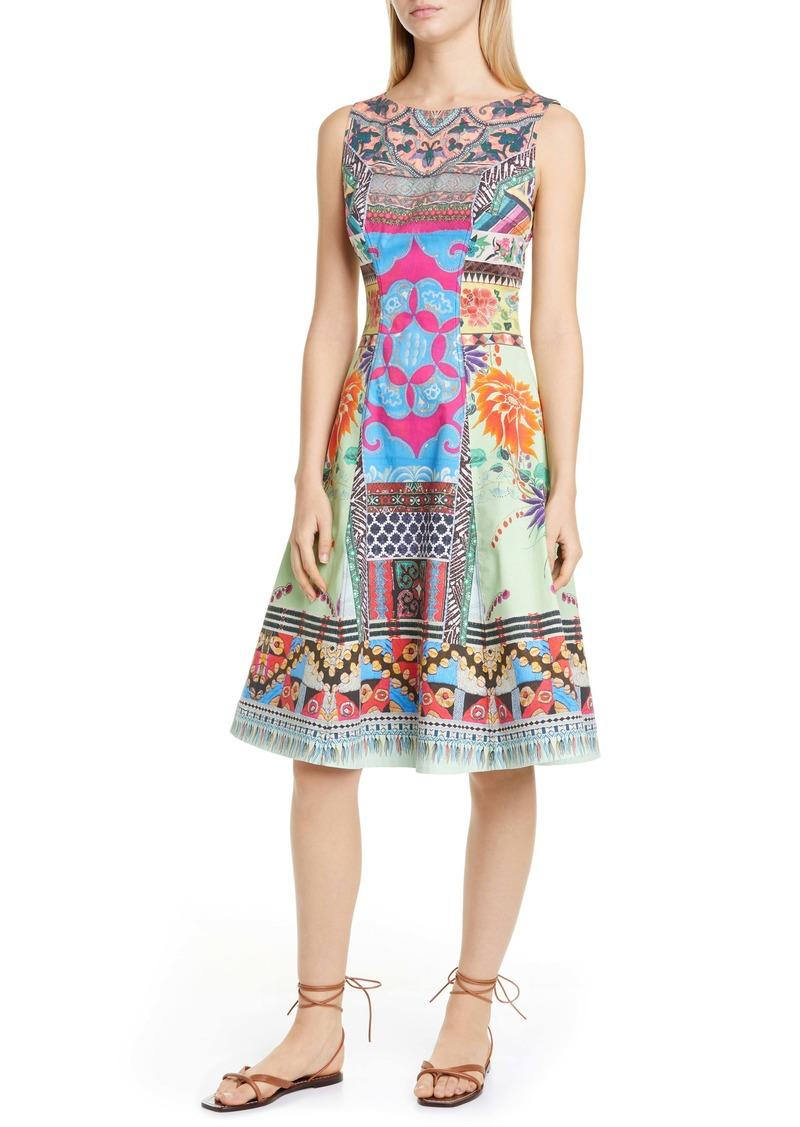 Etro Print Stretch Cotton Fit & Flare Dress