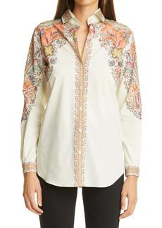 Etro Print Stretch Cotton Shirt