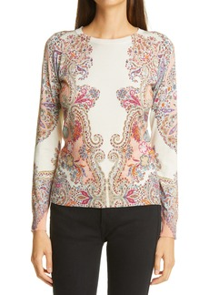 Etro Print Stretch Silk Crewneck Sweater