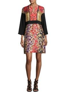 Etro Printed 3/4-Sleeve Split-Neck Kimono Dress
