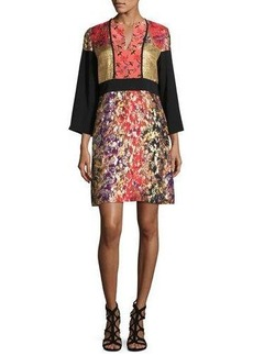 Etro Printed 3/4-Sleeve Split-Neck Kimono Dress