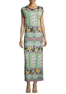 Etro Printed Cap-Sleeve Jersey Gown