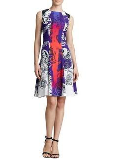 Etro Printed Colorblock Full-Skirt Dress, Purple/Multi