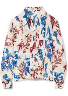 Printed crinkled-silk blouse