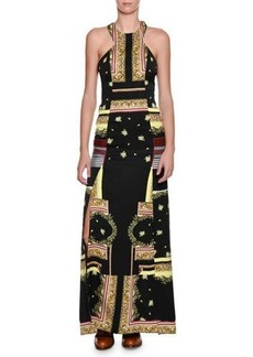 Etro Printed Cut-In Halter Slit Gown