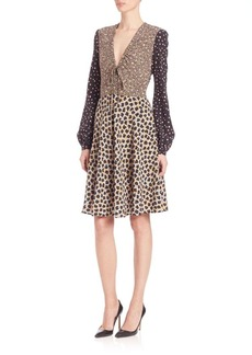 Etro Printed Long-Sleeve Silk Dress