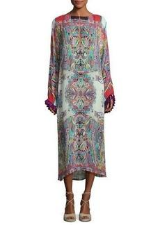Etro Printed Midi Dress w/Tassel Trim
