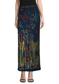 Printed Pleat-Knit Maxi Skirt