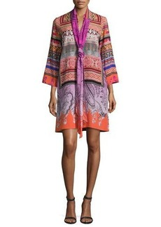 Etro Printed Sash-Neck Tunic Dress