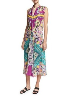 Etro Printed Silk Coverup Midi Dress