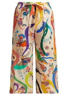 Etro Printed silk cropped trousers