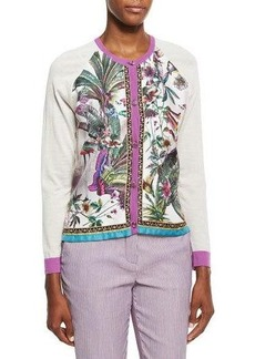 Etro Printed Silk-Front Cardigan