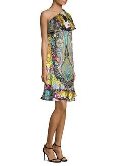 Printed Silk One-Shoulder Dress