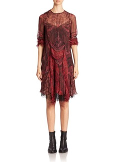 Etro Printed Silk Ruffle Dress