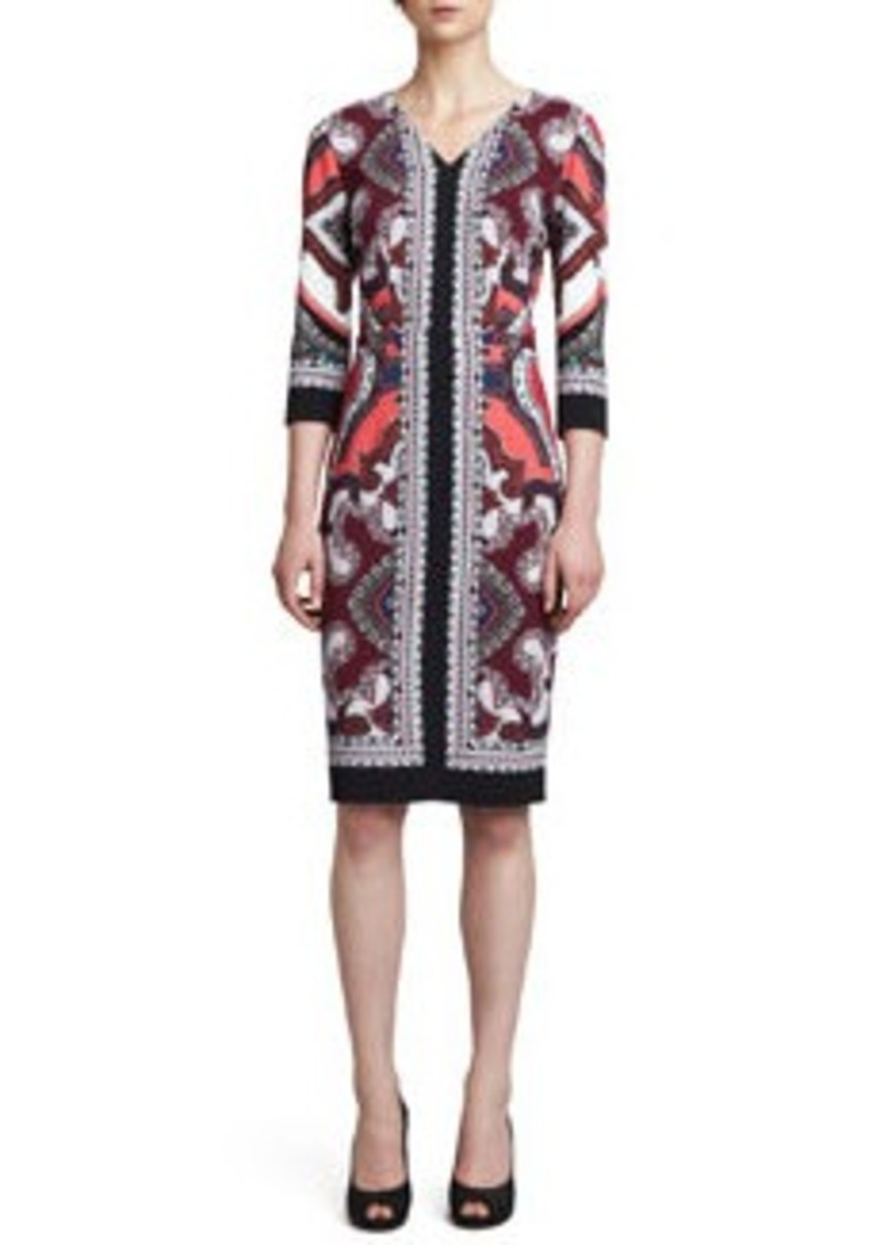 Etro Printed V-Neck Dress, Pink/Black