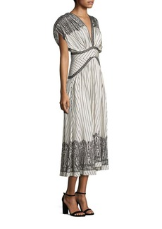 Etro Printed V-Neck Silk Dress
