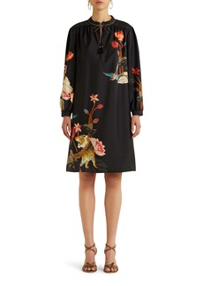 Etro Procida Floral Long Sleeve Silk Shift Dress