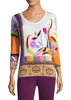 Etro Psych Paisley Scoop Neck Sweater