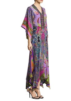 Psych Paisley Silk Caftan Gown