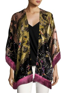 Etro Reversible Paisley Boudoir Jacket with Fringe