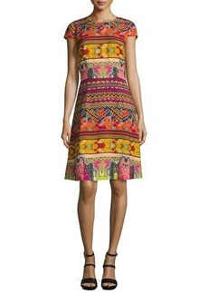 Etro Ribbon-Print Cap-Sleeve A-Line Dress