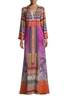 Etro Ribbon-Print Tie-Neck Peasant Gown