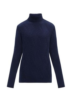 Etro Roll-neck zigzag ribbed-knit merino wool sweater