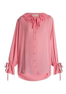 Etro Ruffled-collar silk crepe de Chine blouse