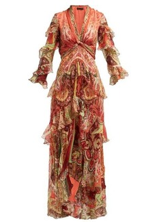 Etro Ruffled paisley-print silk-chiffon gown