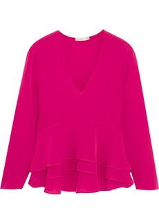 Ruffled silk-crepe peplum blouse