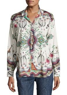 Etro Safari-Print Cotton Blouse