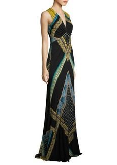 Etro Scarf-Print Jersey Gown