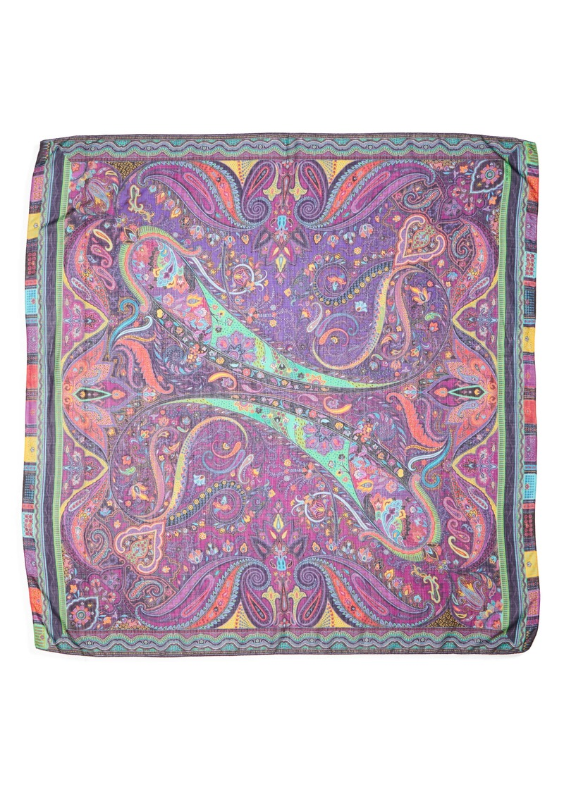 Etro Scialle Bombay Paisley Wool & Silk Scarf