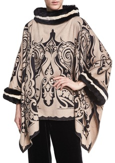 Etro Scroll Paisley Cashmere Poncho with Fur Trim