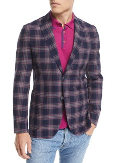 Etro Seersucker Check-Print Sport Coat