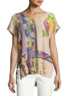 Etro Sequined Floral Short-Sleeve Tunic