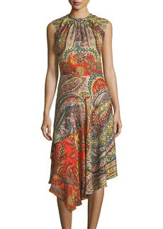 Etro Shirred-Neck Paisley-Print Dress