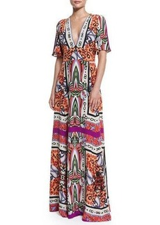Etro Short-Sleeve Multi-Print Maxi Dress