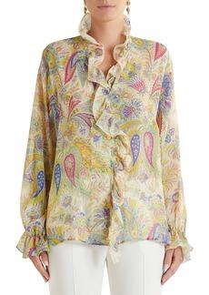 Etro Sicilia Paisley Print Ruffle Silk Blouse