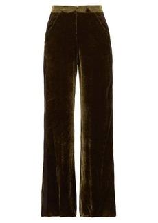 Etro Side-stripe velvet palazzo trousers