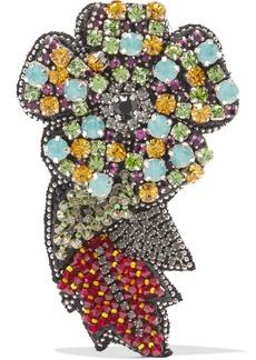 Silk-chiffon, crystal and bead brooch