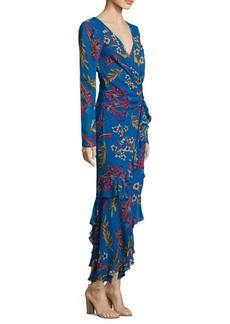 Etro Silk Floral-Print Ruffle Dress