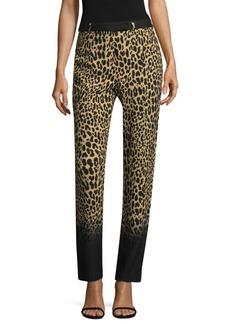 Silk Leopard-Print Pants