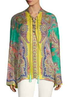 Etro Silk Paisley Lace-Up Top