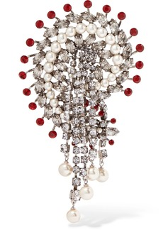 Silver-plated, crystal and faux pearl brooch