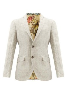 Etro Single-breasted linen fil-á-fil suit jacket