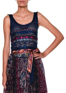 Etro Sleeveless Scoop-Neck Ribbon Top