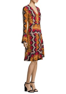 Etro Snake-Print Bell Sleeve Silk Dress