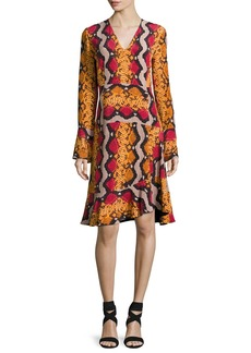 Etro Snake-Print Silk V-Neck Flounce Dress