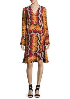 Etro Snake-Print Silk V-Neck Flounce Dress